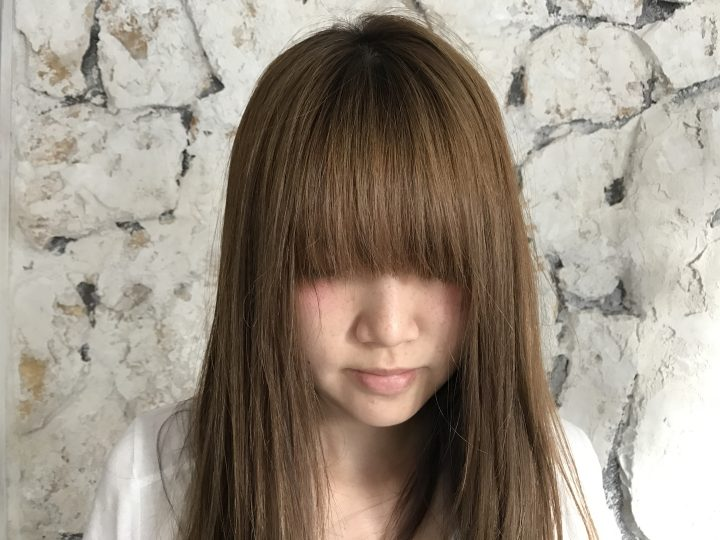 前髪のコテ巻き前
